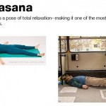 Haciendo yoga en el autobus